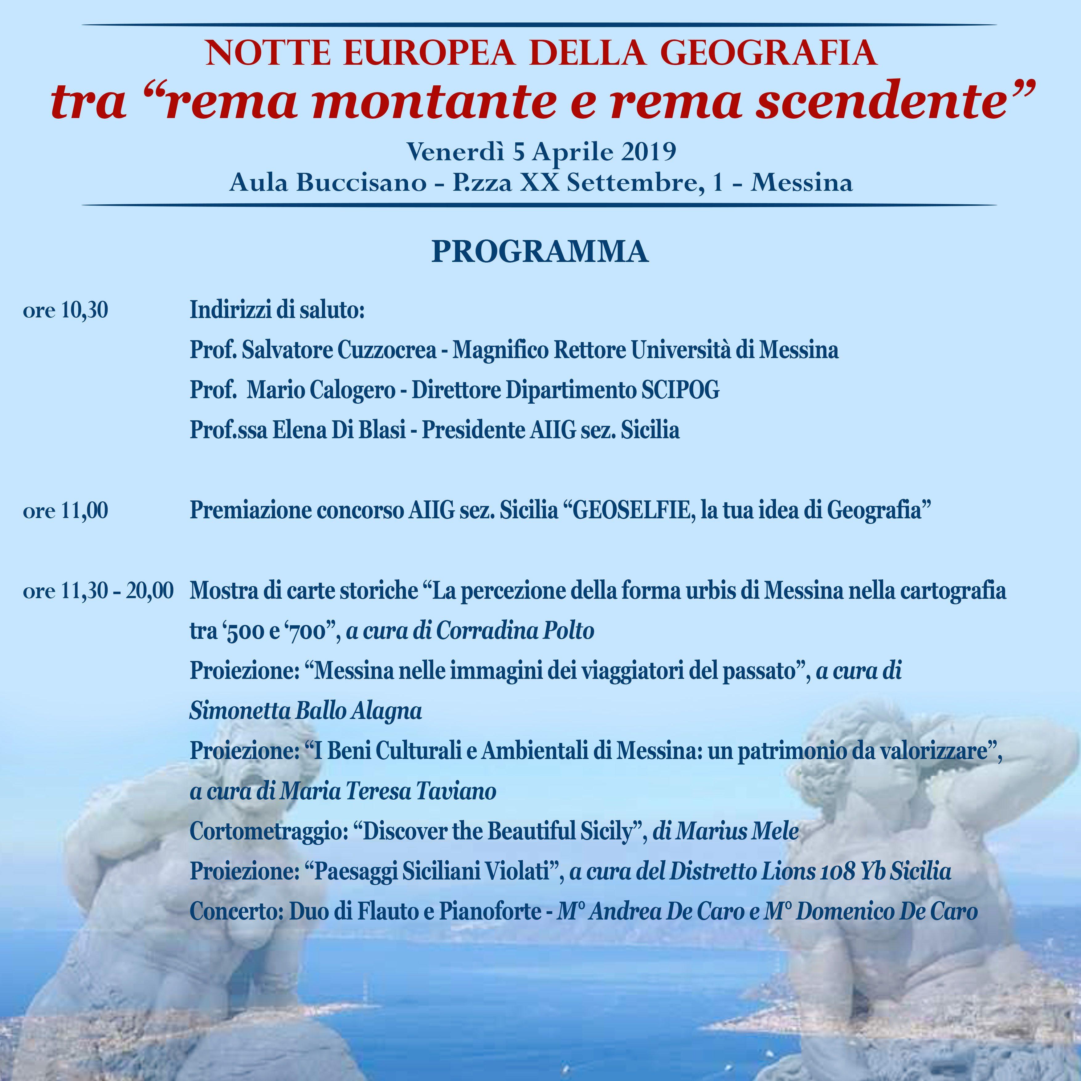 locandina Notte europea della geografia Messina 5 aprile 2019